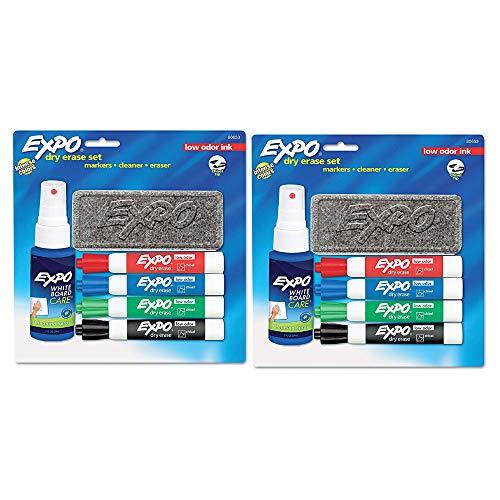 80653 Low Odor Dry Erase Marker Starter Set Chisel Assorted 4/Set (2 Pack)