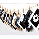 "ITTA 3 Pack / 30 pcs Paper Photo Frame, Hanging Picture Display Wall Decor with Mini Clothespins and Hemp Ropes - Fits 5""x 7"" Pictures (3 Color)"