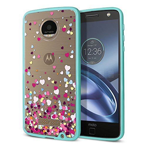 FINCIBO Case Compatible with Motorola Moto Z 2016 Droid Edition, Slim Shock Absorbing TPU Bumper + Clear Hard Protective Case Cover for Moto Z 2016 Droid Edition (NOT FIT Z Force) - Falling Hearts ()