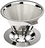 no 6 coffee filter - Cafellissimo Paperless Pour Over Coffee Maker, 18\8 (304) Stainless Steel Reusable Drip Cone Coffee Filter, Single Cup Coffee Brewer