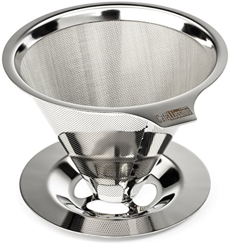 - Cafellissimo Paperless Pour Over Coffee Maker, 18\8 (304) Stainless Steel Reusable Drip Cone Coffee Filter, Single Cup Coffee Brewer