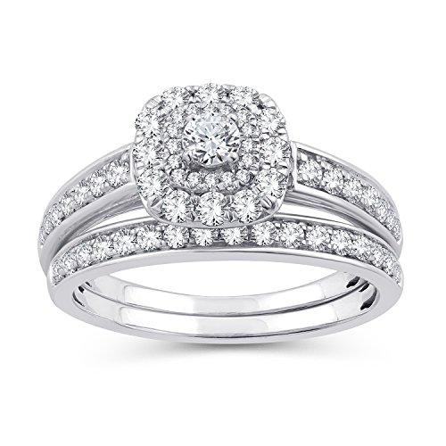 (EternalIDia 1.00 Ct.Wt. Round Diamond Double Halo Cushion/Square Shape Bridal Set (IJ/I2-I3) (6))