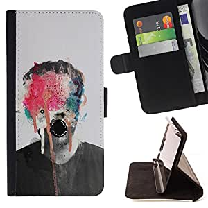 BullDog Case - FOR/Sony Xperia m55w Z3 Compact Mini / - / ABSTRACT ART MONSTER PAINT PHOTO MAN /- Monedero de cuero de la PU Llevar cubierta de la caja con el ID Credit Card Slots Flip funda de cuer