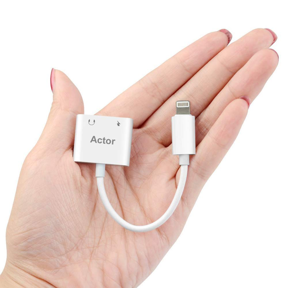 Lighting Jack Adapter,Lighting Adapter for iP X 10 iP 8/8Plus iP 7/7Plus Dual Adapter Audio Lighting Headphone Adapter.with Call & Audio & Charge Function.Compatible - Support iOS 11