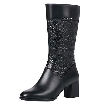 LuckyGirls Botines de Cuero Las Mujeres Retro Vintage Floral Botas de Tacón Cuadrado Zapatos de Tacón 6cm Botas de Media Caña: Amazon.es: Deportes y aire ...