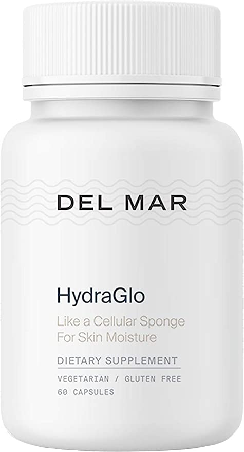 Del Mar Labs: HydraGlo - Hyaluronic Acid Dietary Supplement - 60 Capsules - Vegetarian, Gluten-Free - Anti-Aging Supplement for Smooth, Supple Skin - Supports Joint Health - High Absorption Technology