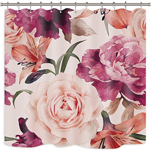 Riyidecor Pink Rose Flower Shower Curtain Set Floral Blossom Spring Season Home Bathroom Decor Fabric Panel Polyester Waterproof 72x72 Inch with 12-Pack Plastic Shower -