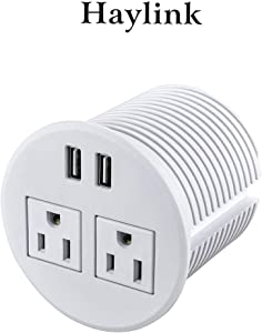 Haylink ETL Round Desktop Power Strips Installed in 80mm Cut-out Hole Hidden Desk Socket with 6 ft 16 AWG Power Cord Recessed Desk Power Grommet for Office Furniture and Conference Desk Charging Ports