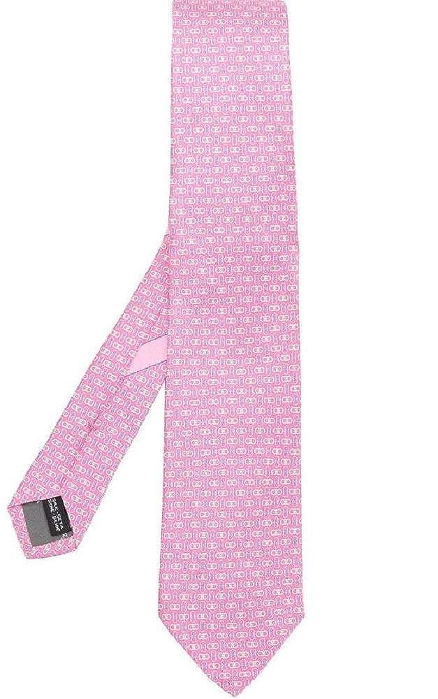 Salvatore Ferragamo Men's Pink Gancini Printed Silk Neck Tie
