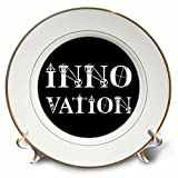 3dRose Alexis Design - Mechanical Engineering - Innovation elegant text in two lines on black background - 8 inch Porcelain Plate (cp_286080_1)
