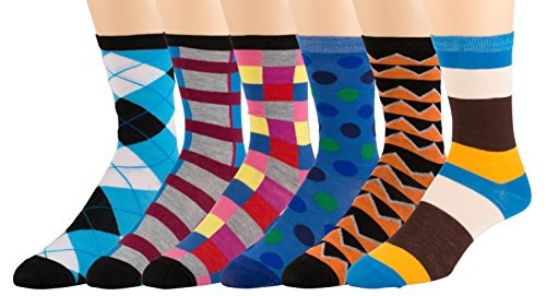 Men's Pattern Dress Funky Fun Colorful Socks 6 Assorted Patterns Size 10-13 (6 Pairs) (Mens Multi Colored Dress)