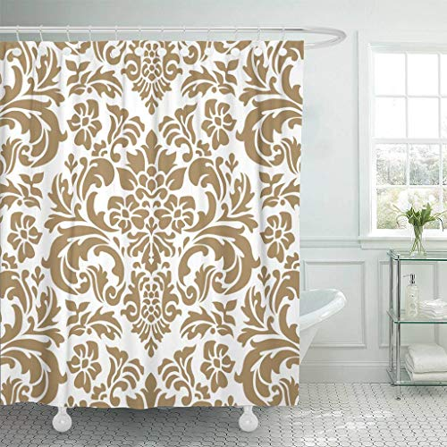 Emvency Fabric Shower Curtain with Hooks Brocade Damask Pattern Fancy Regal Acanthus All Over Antique Aristocratic Extra Long 72
