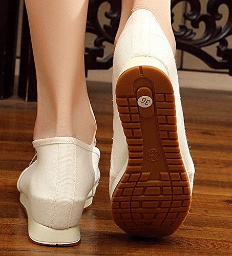 AvaCostume Womens Embroidery Slip-On Loafer Wedges Beige 3G41I8yz