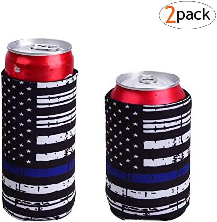 Slim Can Coolers For Slim Can +Can Cooler Sleeves For Standard 12oz Can, Collapsible Neoprene Insulated Drink Cooler Coolies Cover holder Can Coozies USA Flag Perfectly (2 pack)
