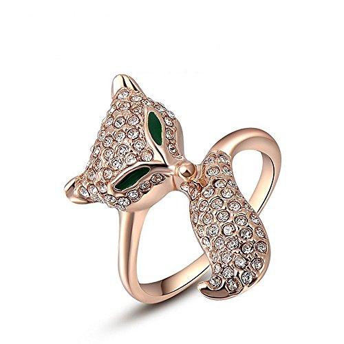 Winter.Z Noble and Elegant Ladies Jewelry Popular Explosion Models Austria Crystal Rose Gold Green Eyes Fox Ring Wedding