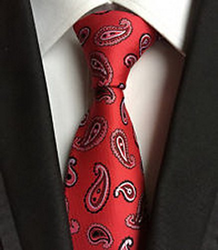[MINDoNG Necktie Paisley White Red JACQUARD WOVEN Men's Tie GAG # 33255] (James Bond Womens Costumes)