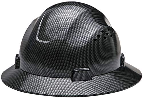 - Safety Hard hat HDPE Hydro Dipped Black Full Brim Hard Hat with Fas-trac Suspension