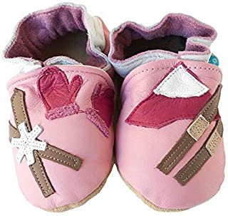 product image for SKI PATROL (pink) Handmade in USA, All-Natural Leather Baby Shoes.