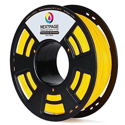 NEXTPAGE 3D PLA Yellow Printer Filament, 1.75 mm Filament, Dimensional Accuracy +/- 0.03 mm, 2.2 lbs (1.0KG) Transparent Filament