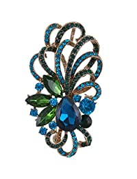 Ever Faith Silver-Tone Austrian Crystal Bridal Flower Ribbon Teardrop Brooch Pendant Clear N06021-1