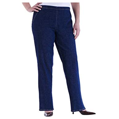 63f777df8f3 Just My Size Women s Plus-Size 2-Pocket Stretch Pull-On Pants (Regular    Petite) - Blue -  Amazon.co.uk  Clothing