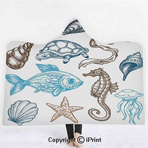 Doodle 3D Print Soft Hooded Blanket Adult Premium Throw Blanket,Lightweight Microfiber,Underwater Marine Life Aquatic Fish Shell Jellyfish Oyster Squid Seahorse Motif,All Season for Adult(60