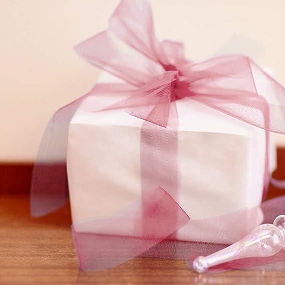 250 Yardas Cinta Gasa Transparente Organza Cinta Manchada Transparente Cinta Desvanecimiento Rosa Polvorienta para Decorar Navidad Boda Envolver Regalo San Valent/ín Ramo Artesan/ía Cumplea/ños Fiesta