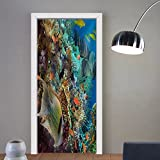 Niasjnfu Chen custom made 3d door stickers Tropical Anthias fish with net fire corals and shark on Red Sea reef underwater Fabric Home Decor For Room Decor 30x79