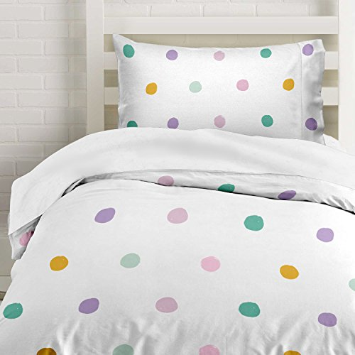 Colorful Pink, Seafoam Teal, Yellow and Purple Polka Dot Duvet Cover Twin Size Bedding, White with Grey (Pink And White Polka Dot Comforter Set)