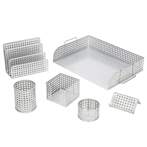 Artistic Punched Metal Desk Organizer 6-Piece Set - Complete Desk Accessory Set, Silver, 16