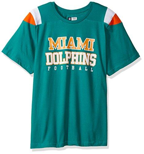 - NFL Miami Dolphins Women DOLPHINSS/S SCOOP NECK PANEL SHOULDER, AQUA/ORANGE, 1X