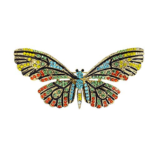 Mamfous Vintage Enamel Multicolor Rhinestone Large Sparkling Butterfly Pins and Brooches for Women Jewelry