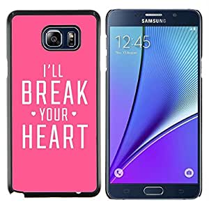 TaiTech / Prima Delgada SLIM Casa Carcasa Funda Case Bandera Cover Armor Shell Wood Texture - Corazón Heartbreak Pink Love Feroz - Samsung Galaxy Note 5 5th N9200