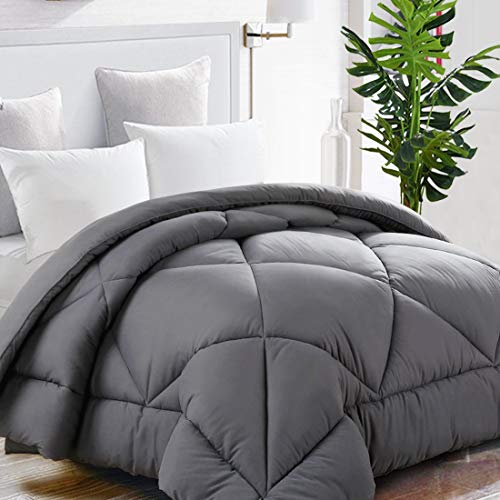 TEKAMON All Season King Comforter Summer Cooling Soft Quilted Down Alternative Duvet Insert with Corner Tabs,Luxury Fluffy Reversible Hotel Collection,Grey,90 x 102 inches