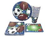 Sports Themed Birthday Party Supply Bundle. 4 Items; Plates, Napkins, Invitations, Cups. Serves 18