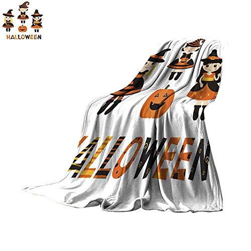 Angoueleven Fleece Blanket Throw Set of Characters for Halloween in Cartoon Style Throw Blanket 90