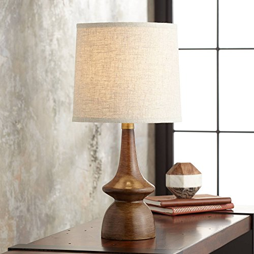 (Rexford Mid Century Modern Table Lamp Brown Walnut Wood Off White Linen Shade for Living Room Family Bedroom Bedside Office - 360 Lighting)