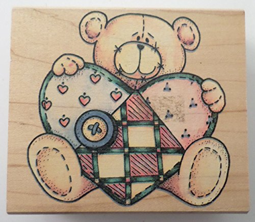 - Rubber Stampede Teddy Bear With A Country Quilt Heart Wooden Rubber Stamp