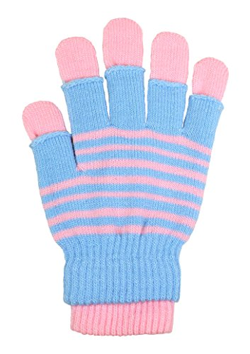 LL Womens Striped 3 in 1 Convertible Knit Fall Winter Gloves Fingerless Layer (Blue and Pink) (Glove Convertible Striped)