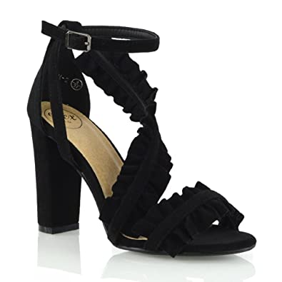 78117f7d223 ESSEX GLAM Womens Ankle Strap Ruffle Block High Heel Frill Sandals Ladies  Party Shoes Size 3-8  Amazon.co.uk  Shoes   Bags