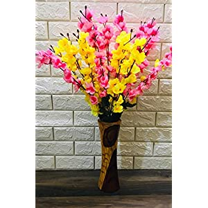 VTMT Petalshue® Artificial Pink & Yellow Blossom Flower Bunch for Home Decor Office | Artificial Flower Bunches for Vases (18 Sticks, 45 cm)