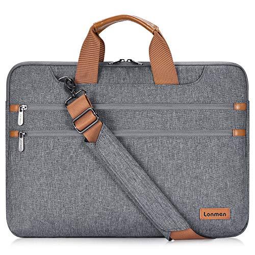 "LONMEN 15.6 Inch Laptop Shoulder Bag,Computer Sleeve Carrying Case for Lenovo 15.6"" Ideapad 330/15.6"" HP EliteBook 850 G3 / Dell New Latitude 3590 Chromebook Ultrabook (Gray)"