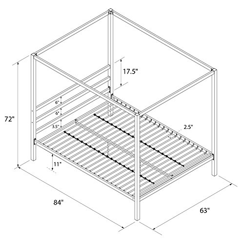 dhp modern canopy bed frame  classic design  queen size