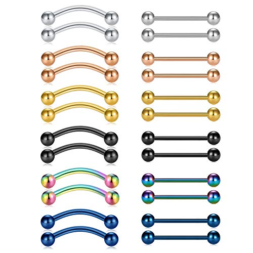 - VCMART 24pcs 14g Curved Barbell Snake Eyes Tongue Ring Piercing Jewelry 316L Surgical Steel Nipplering Barbell 18mm Bar