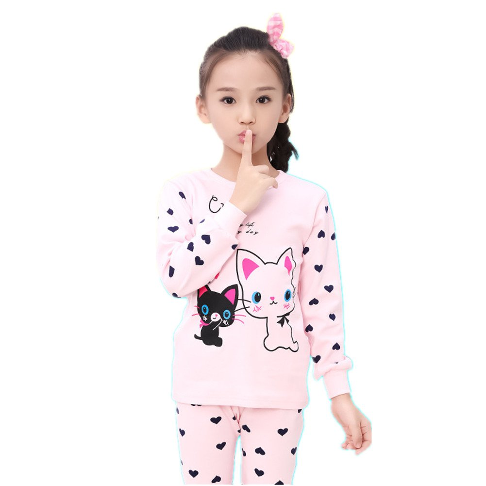 FTSUCQ Girls/Boys Cartoon Long Sleeve Pyjamas Top With Bottoms, Two-Pieces Pajama Sets,Pink 130