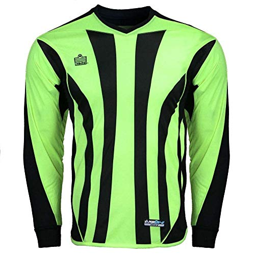 Admiral Sports Bayern Soccer Goalie/Goalkeeper Crew-Neck Jersey, Padded Elbows, VaporDraw Fabric (Lime/Black, Adult Small Size)