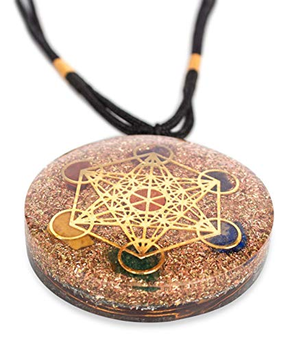 Reversible Metatron Cube Orgonite Mixed Chakra Orgone Pendant – Revitalization and relaxation Chi energy enhancing Carnelian, Lapis Lazuli, Crystal necklace with Tesla Coil 2 Styles- ()