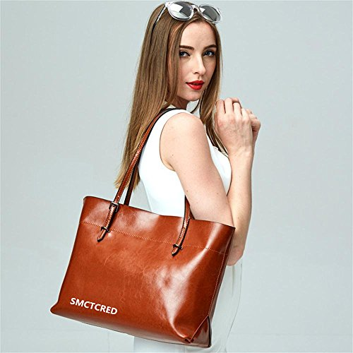 Tote oil Genuine Leather PU Briefcase Bag Bags wax fashion Bag leather Satchel Tablet Orange Leather iPad leather Soft Vintage Purse Shoulder Handbag Bag ncient Black ways Hand qYxtP6xnw