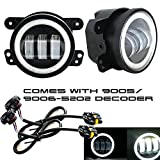 TURBO SII 2pcs 4 Inch 30w Cree Led Fog Lights Len Projector Halo Ring DRL Jeep Tractor Boat Led Fog Lamps Bulb Auto Led Headlight Driving Offroad Lamp for Jeep Wrangler Dodge Chrysler Front Bumper Lights
