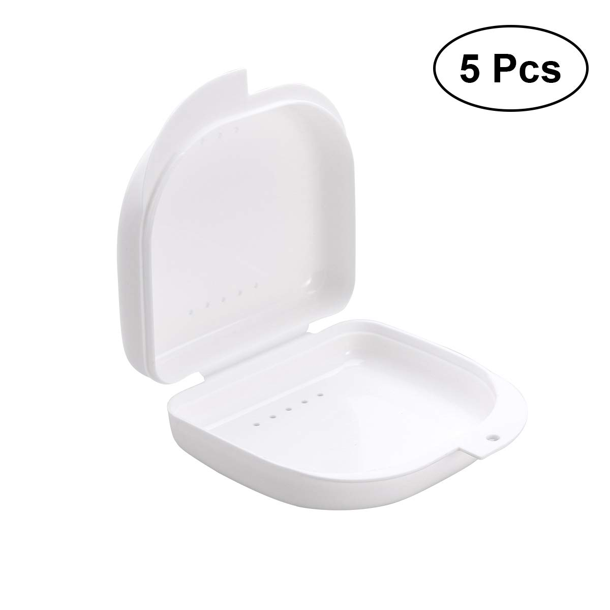 ROSENICE 5pcs Denture Retainer Case Orthodontic Denture Storage Container Box with Vent Holes and Hinged Lid Snaps (White)